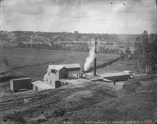 "Brickyard. ""Just over a hundred years ago, the site was used for brick making—first by a company called Pressed Brick Ltd (1907-1911), and then by the Hardstone Brick Company (1912-1915)."" Provincial Archives of Alberta (B1352)  via strathearncl.org."
