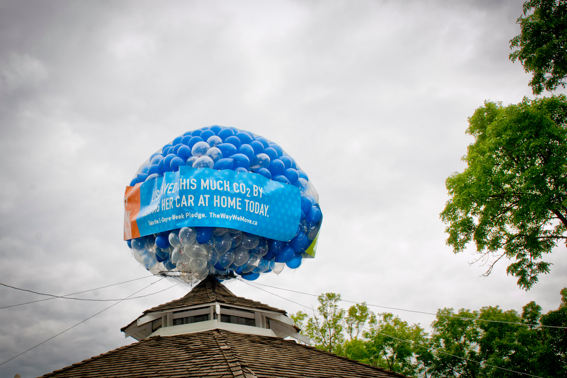 1-Day-a-Week Pledge Campaign Takes Off with Balloon Installation