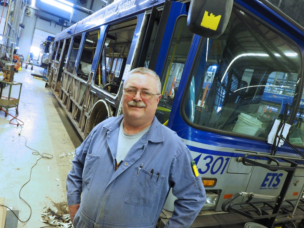 Auto Body Technician Glenn Brown replaces rusted structural steel and other aging components of buses, giving them a fresh start on more years of service.