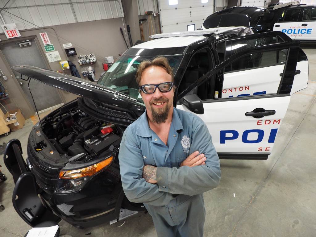 Clayton Kokotailo comes to work each day pumped about his art – creating police vehicles for the clients he serves as an Edmonton Fleet Services mechanic. Some of them you notice, others you won't!