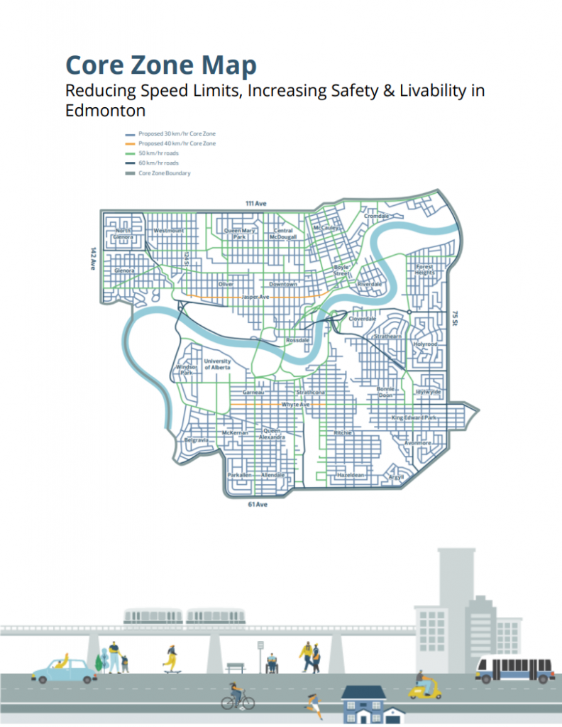 Core Zone Map: Reducing speed limits, increasing safety and livability in Edmonton
