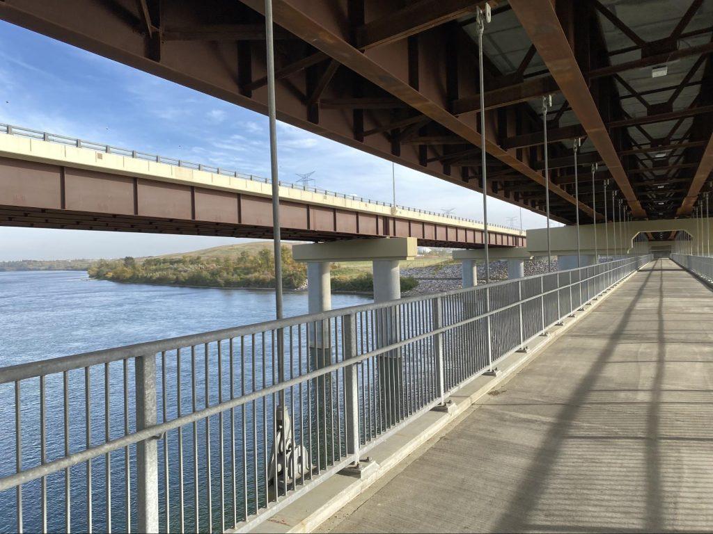 Pedestrian bridge slung under the Anthony Henday Drive Northeast bridge across the river.