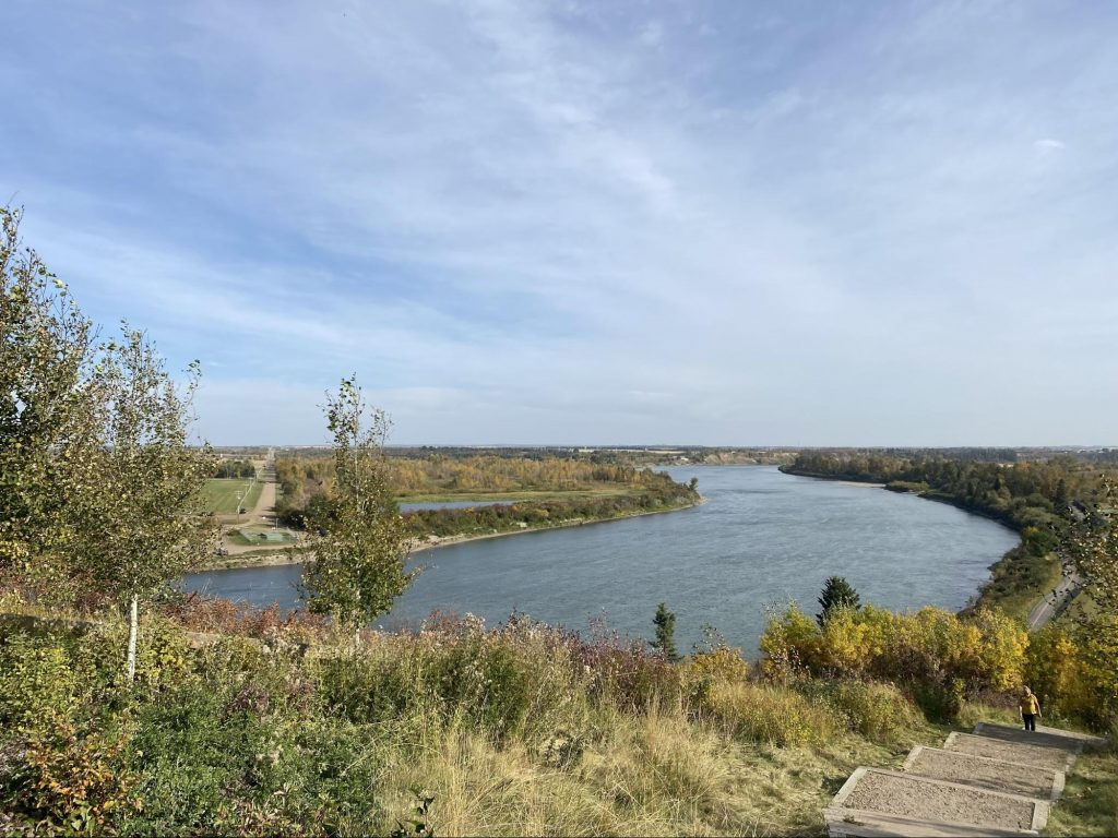 The North Saskatchewan River surrounded by Fall foliage